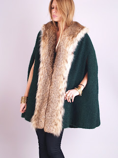 Vintage 1960's emerald green wool cape with brown lynx fur trim.