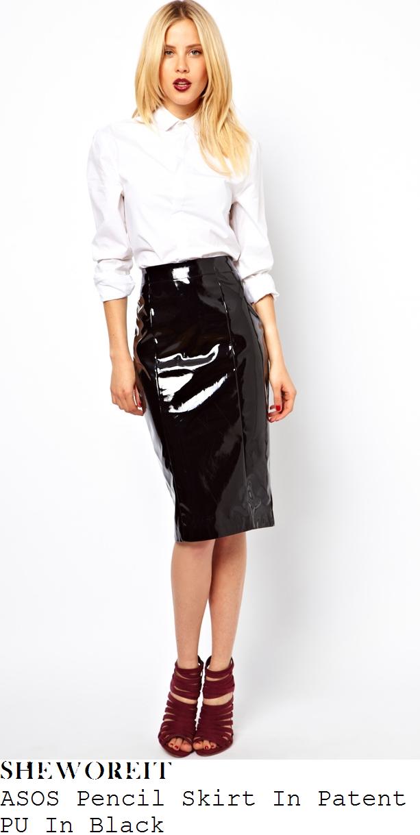lauren-pope-black-pvc-vinyl-pencil-skirt