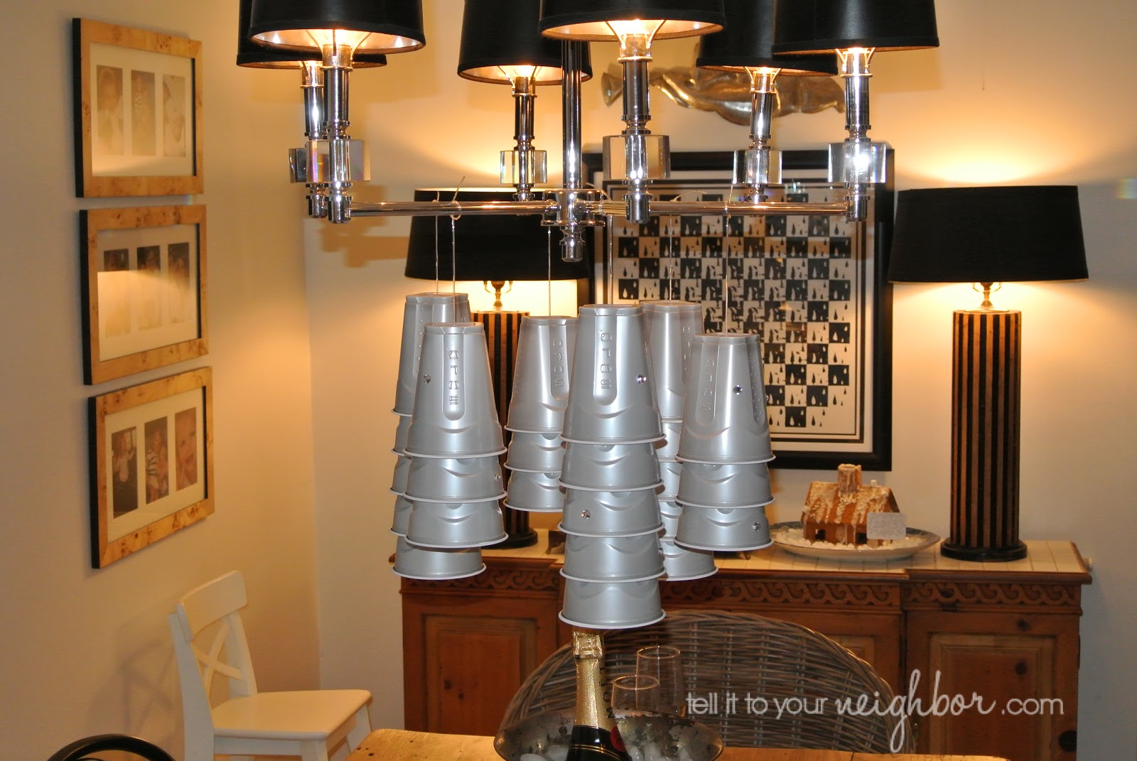 Tell it to your neighbor new years solo cup chandelier im on a real solo cup kick and i was trying to come up with a new use for the cup as a party decoration how about hanging cups arubaitofo Image collections