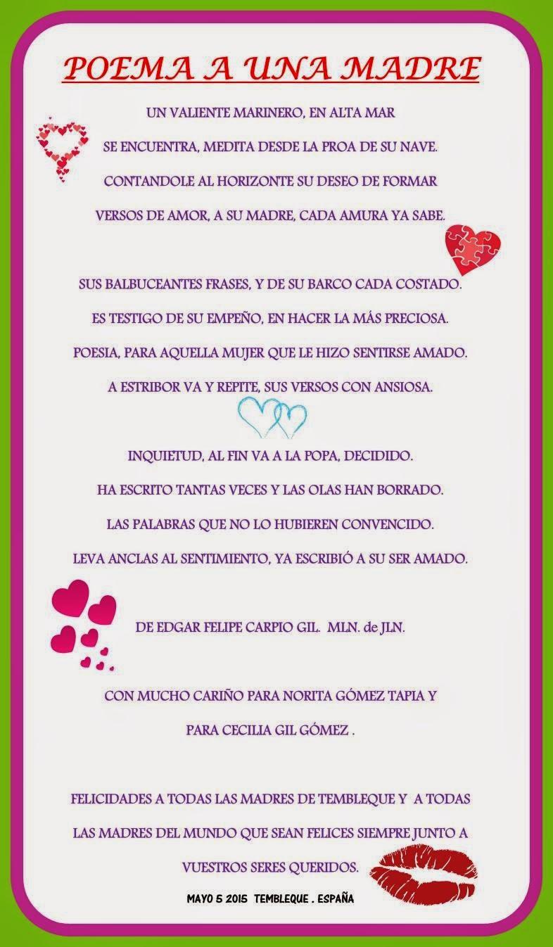 Gracias Madre Poemas Todo Tembleque Poemas Desde Tembleque Por El Día De La Madre.