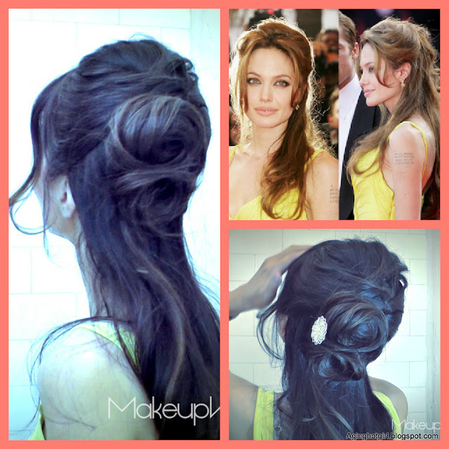 ang1 EASY HAIRSTYLES: FRENCH ROPE BRAID BUN CHIGNON UPDO ON LONG HAIR