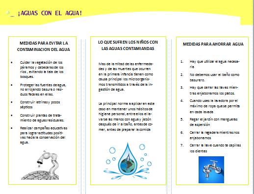 para el cual sera un triptico informativo sobre el cuidado del agua