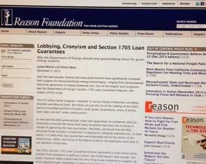 "December 3, 2013: Green Corruption Research ""Sourced"" in Reason Foundation Report"