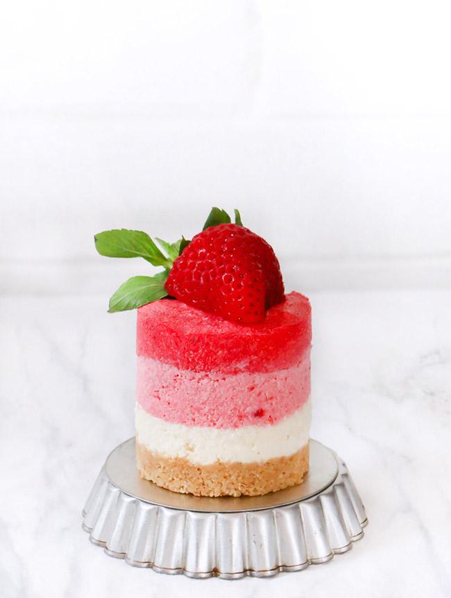 Cheesecake Ombre de Fresas