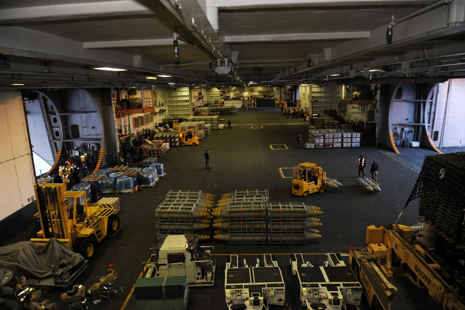 Similar hanger bay on board the Nimitz class John C. Stennis CVN 74