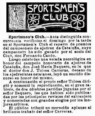 Una breve nota para recordar a Joosé María Baquero Vidal en La Vanguardia, 1905