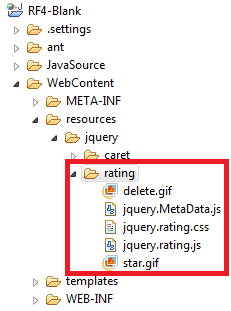 putting star rating library into JSF project