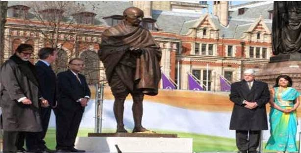 Big B 'honoured' to unveil historic Gandhi statue in Britain