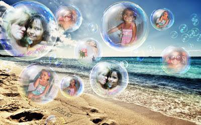 Montagem de fotos com 5 fotos em Bolha de sabão na praia
