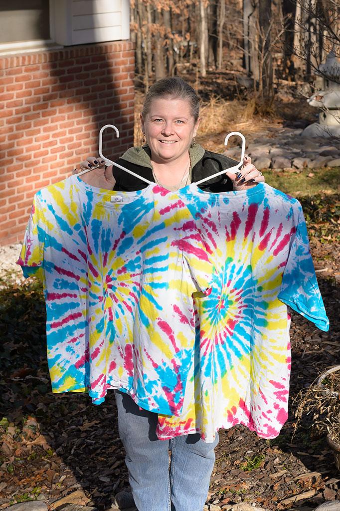 Peg Harmon with custom tie-dyed shirts