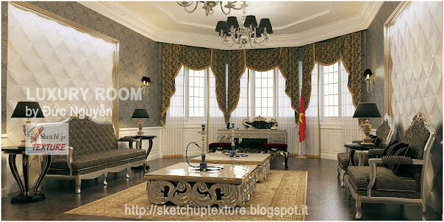 free sketchup model-vray setting-luxury room-render