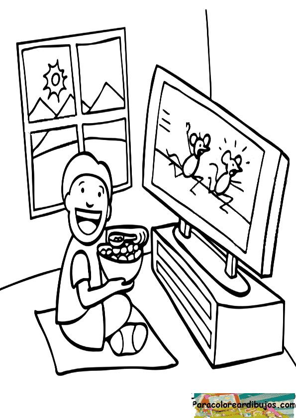 Niño viendo la televisión para colorear