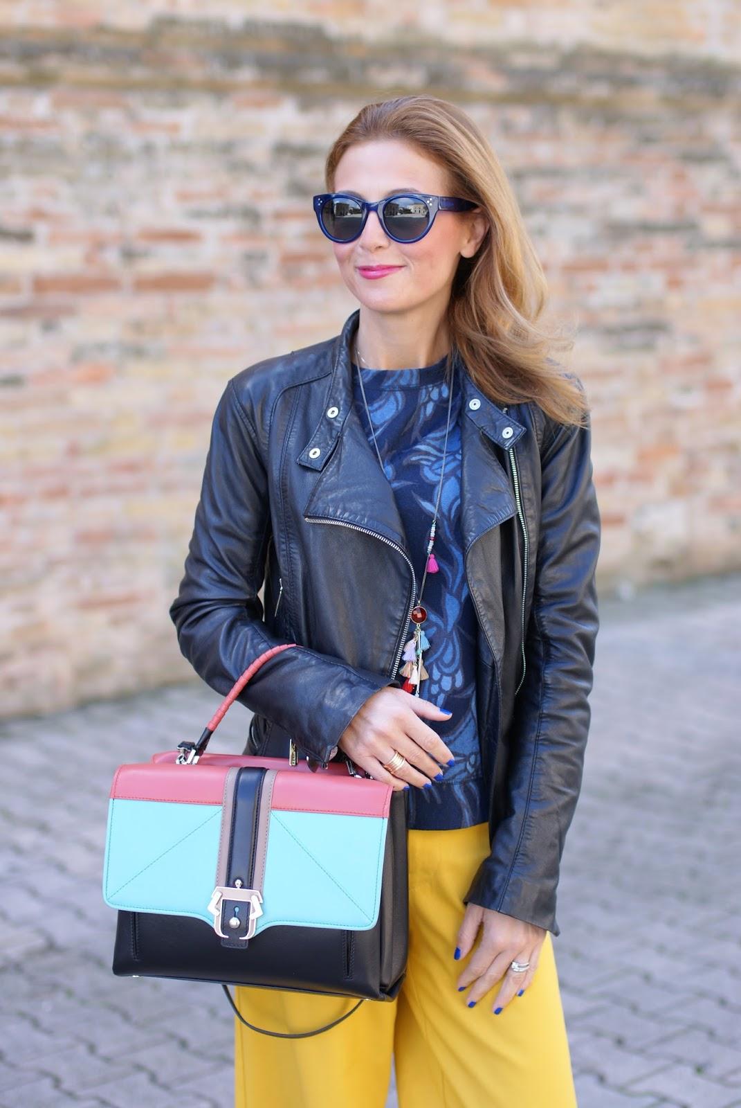 Paula Cademartori Faye color block handbag on Fashion and Cookies fashion blog, fashion blogger style