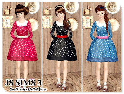 Small Polka-Dotted Dress by JS Sims 3 04