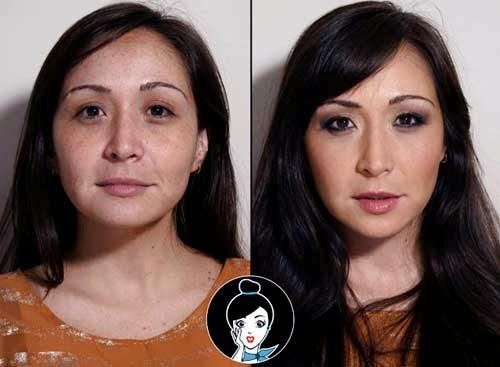 maquillaje antes y despues de chica morena joven
