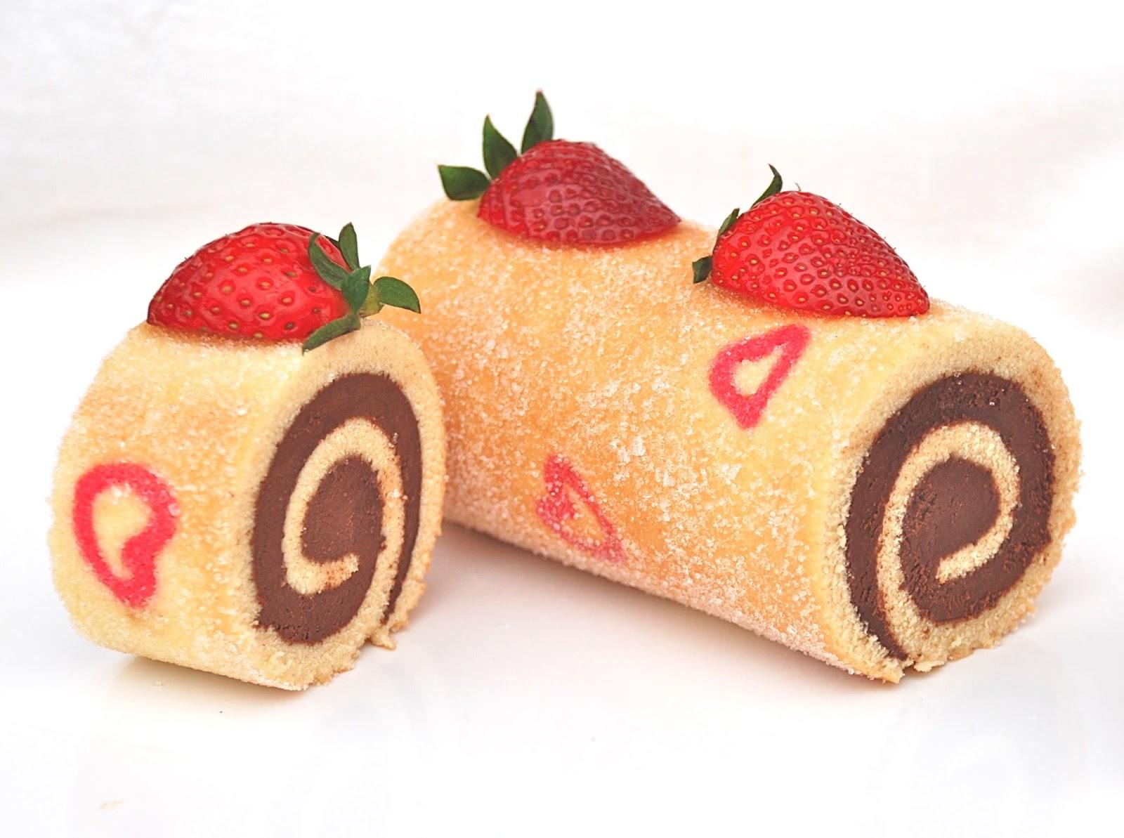Rollo de chocolate con corazones - San Valentin - Dulces bocados