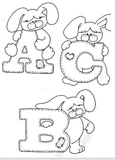 Moldes de Letras de Coelhos de Páscoa