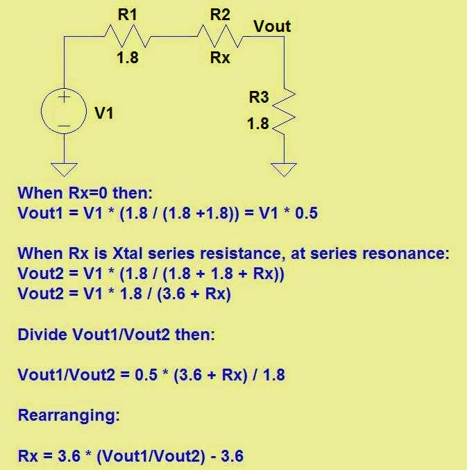 In order to calculate ESR and unloaded Q, we first calculate the ratio of voltages V1/V2 where V1/V2 = 10^((P1-P2)/20 .