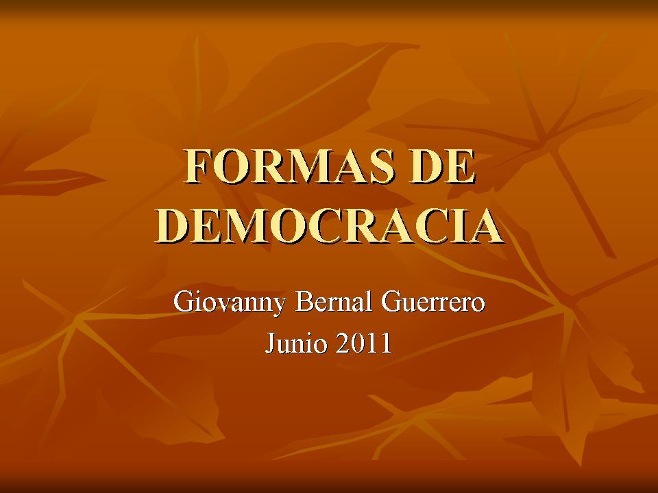 formas de democracia y gobiernos democraticos