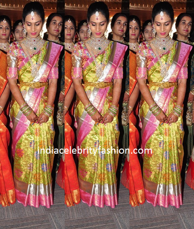 South Indian Bride in Floral Kanjivaram Saree