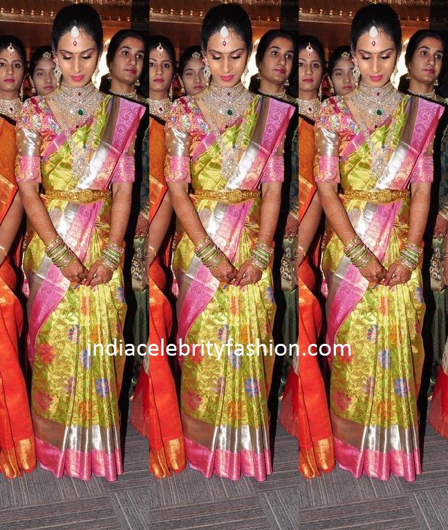 South Indian Bride in Floral Kanjivaram Saree