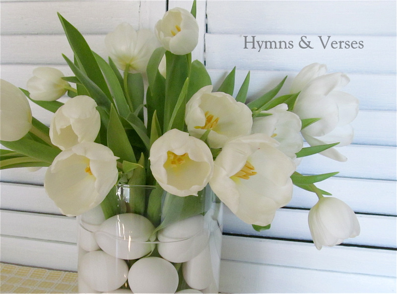 Spring flower arrangement with eggs tulips hymns and verses spring flower arrangement with eggs tulips mightylinksfo