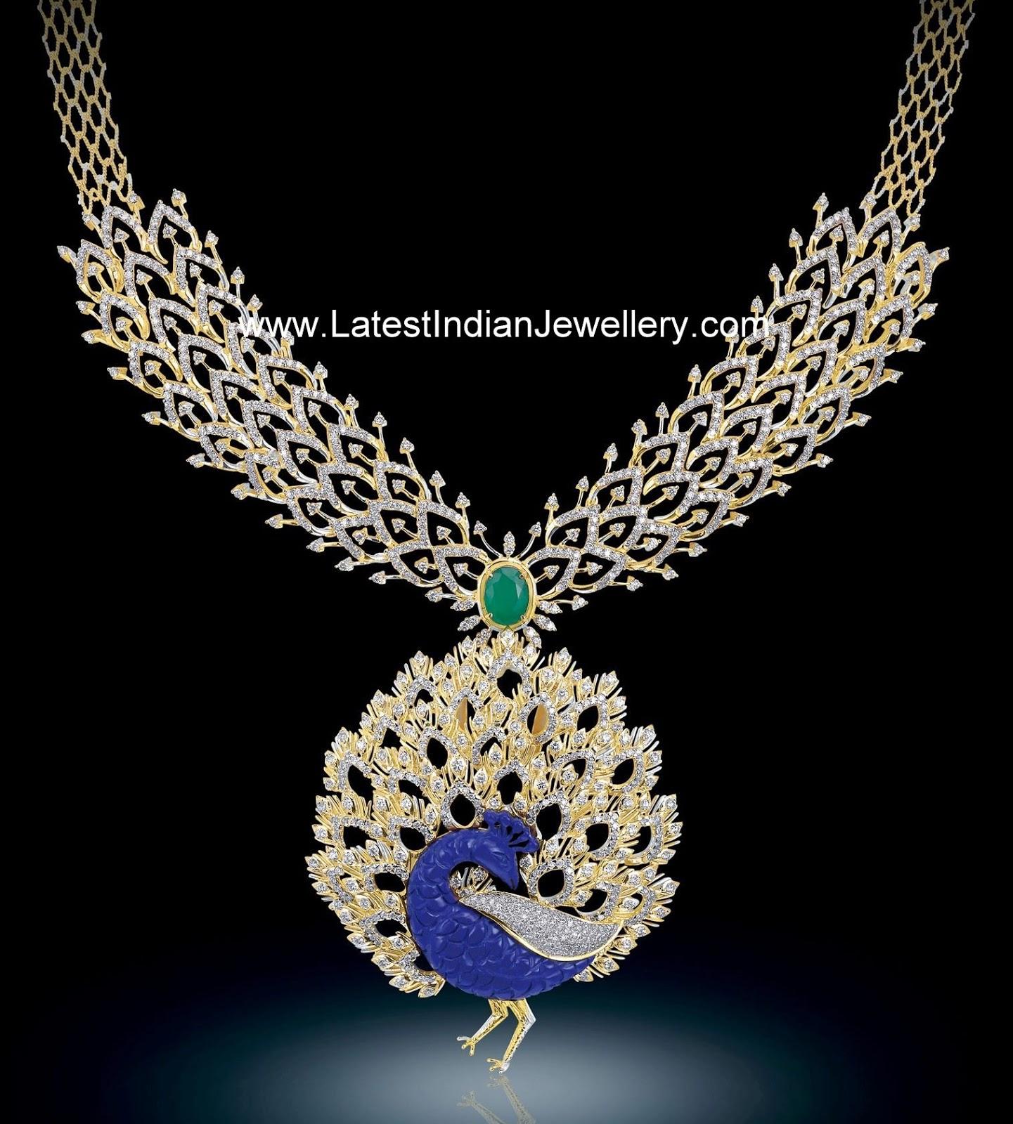 Bhima Jewellery Bands: Brilliant Designer Diamond Necklace With Peacock Pendant