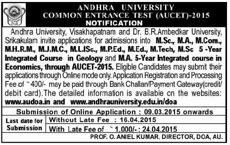 AUCET-2015, Download AUCET 2015 Halltickets , Results of AUCET at manabadi