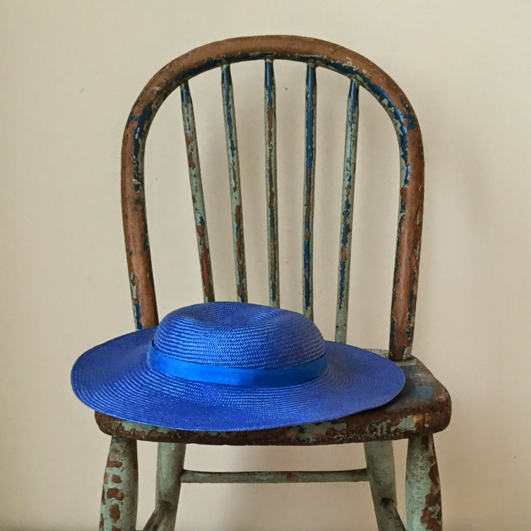 blue vintage spindle back chair