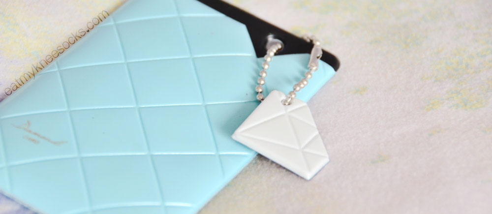 The diamond card holder from the March Kawaii Box is cute and functional.