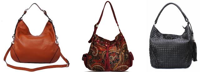 Hobo bag umumnya berbentuk setengah lingkaran dan persegi, dan memiliki tali pegangan.