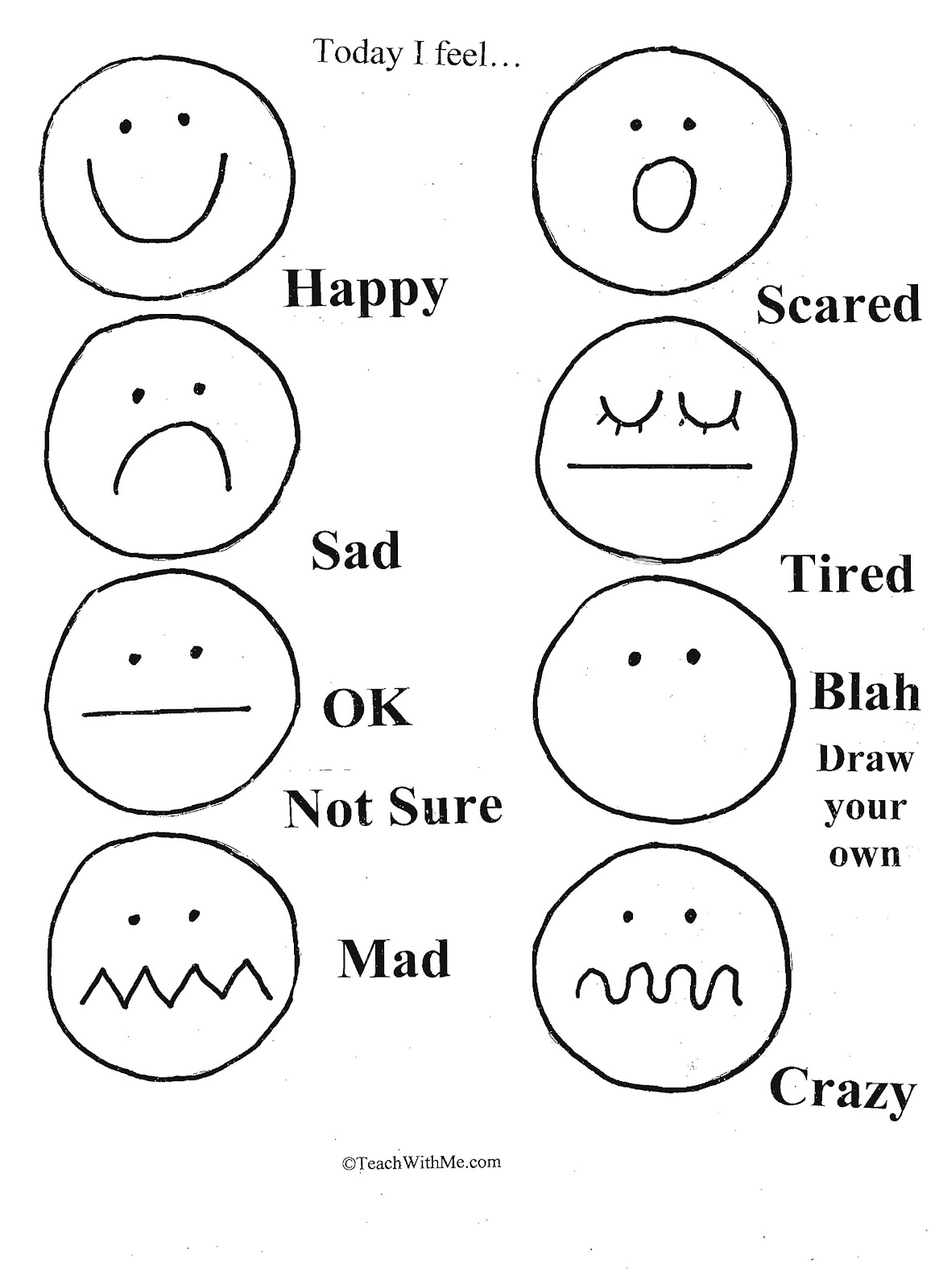 feelings chart coloring pages - photo#24