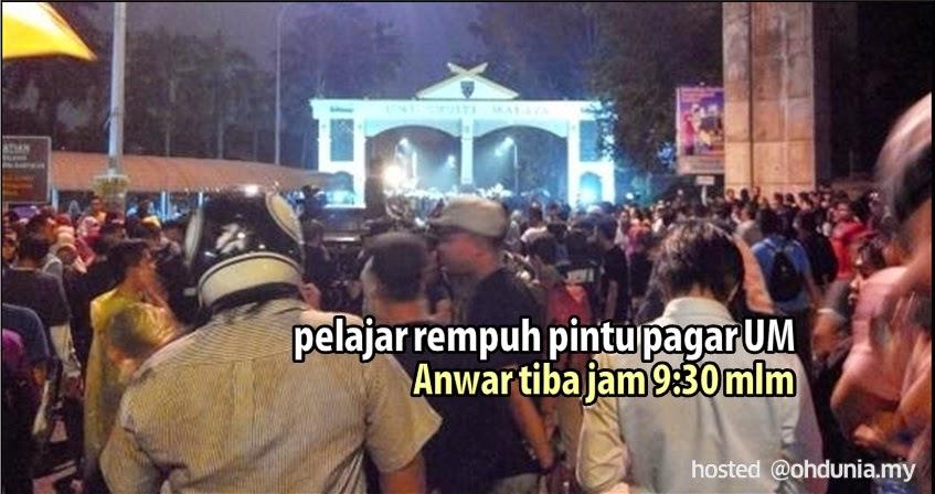 Ceramah Anwar Ibrahim: Pintu Pagar Universiti Malaya Dirempuh Pelajar
