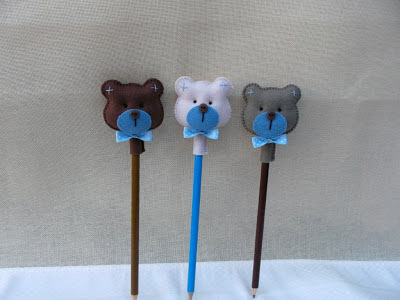ponteiras de lápis em feltro ursinhos