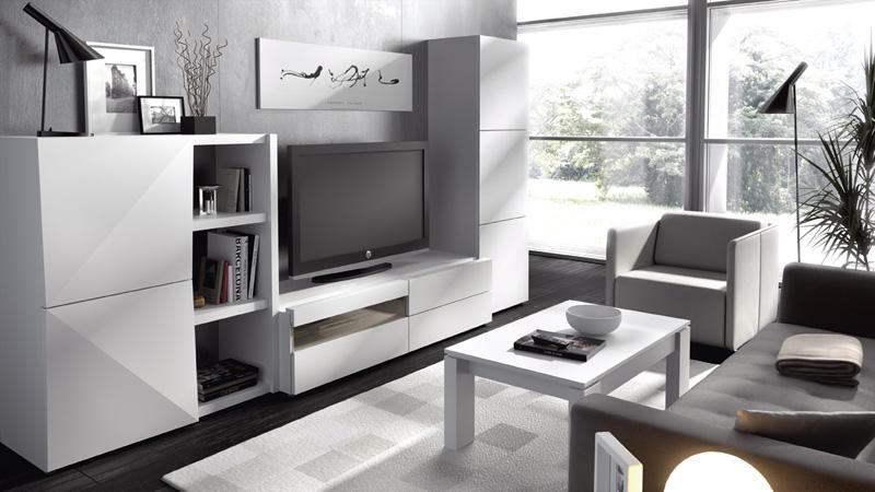 Muebles salon blancos for Salones modernos blancos
