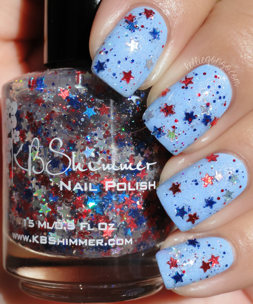 KBShimmer - Red, White & Blue-tiful over JulieG Santorini | kelliegonzo