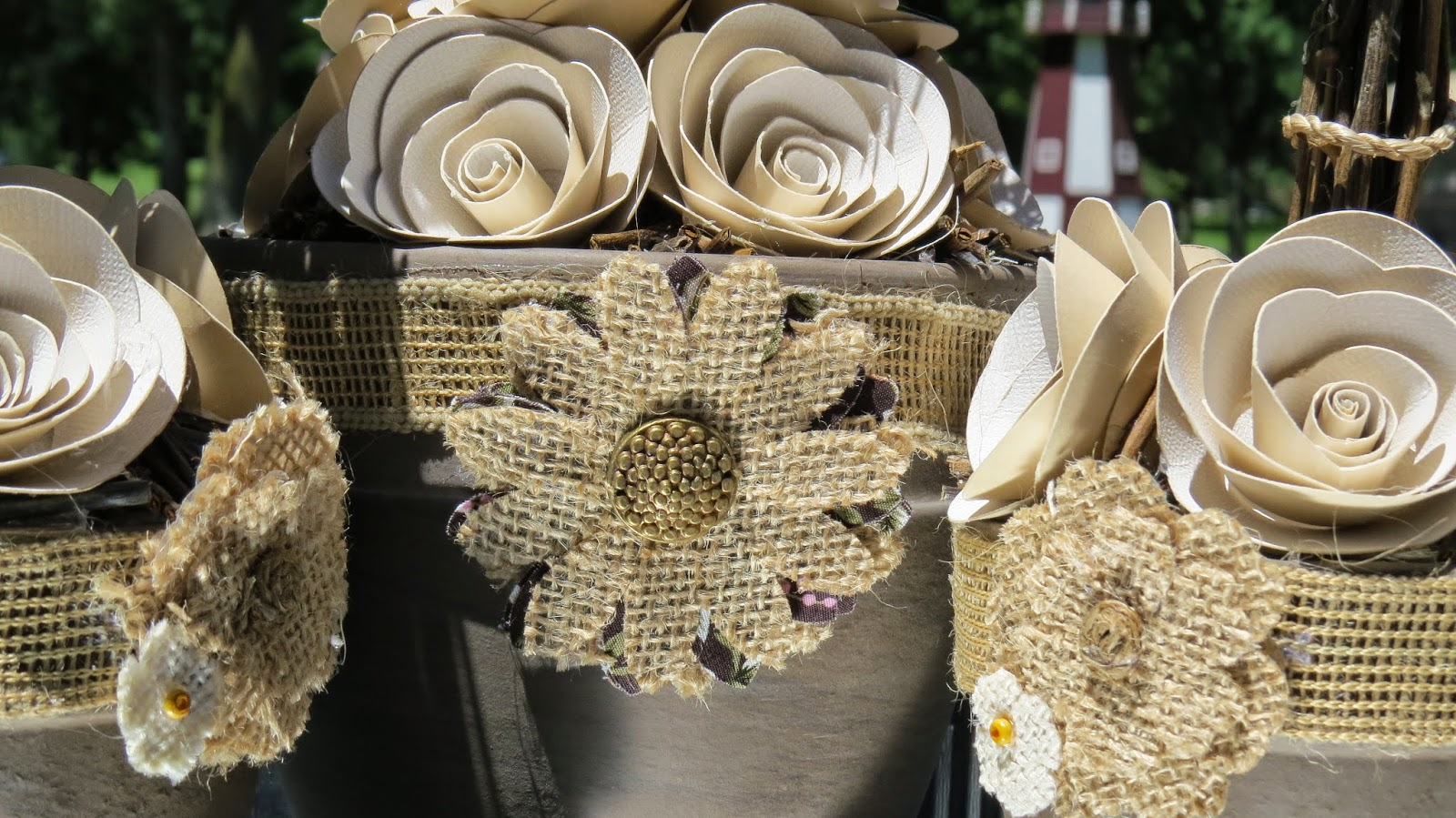 Clay Pots, Burlap, Paper Rose, Silhouette Cameo, Topiary