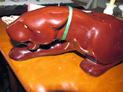 Chocolte Brown 1950's Stalking Panther TV Lamp by Jacquelin