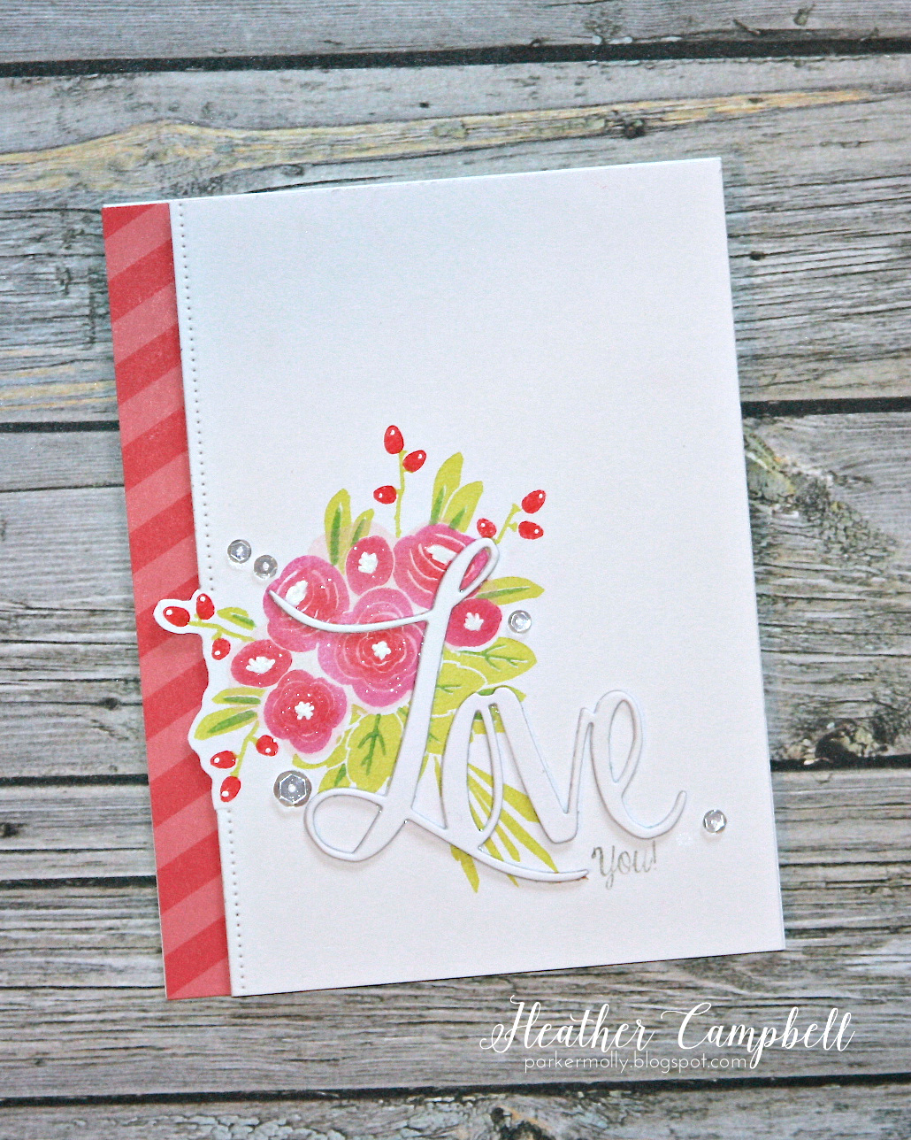 Parkermolly tbt avery elle thanks a bunch i stamped the bouquet arrangement on a piece of card stock and then added a dotted border down the side behind it i nested a strip from the new happy m4hsunfo