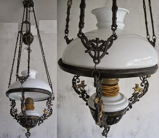 TOKO ANTIEK RETRO: ANTIQUE ART NOUVEAU HANGING LAMP
