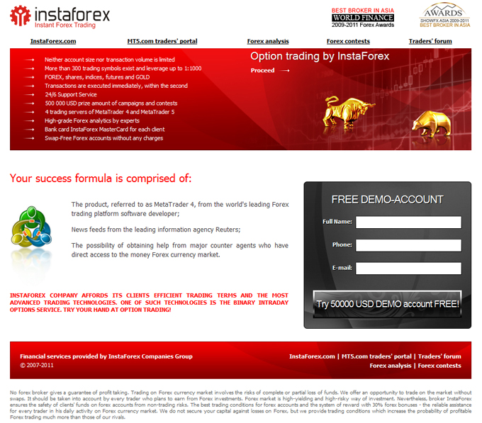 Free forex brokers website template