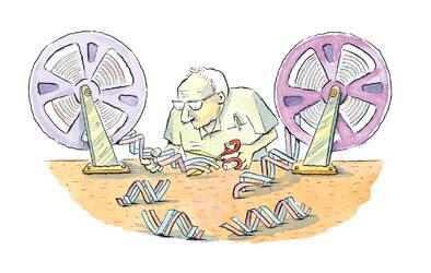 vignetta fumetto cartoon duplicazione DNA film pellicola forbici copia incolla