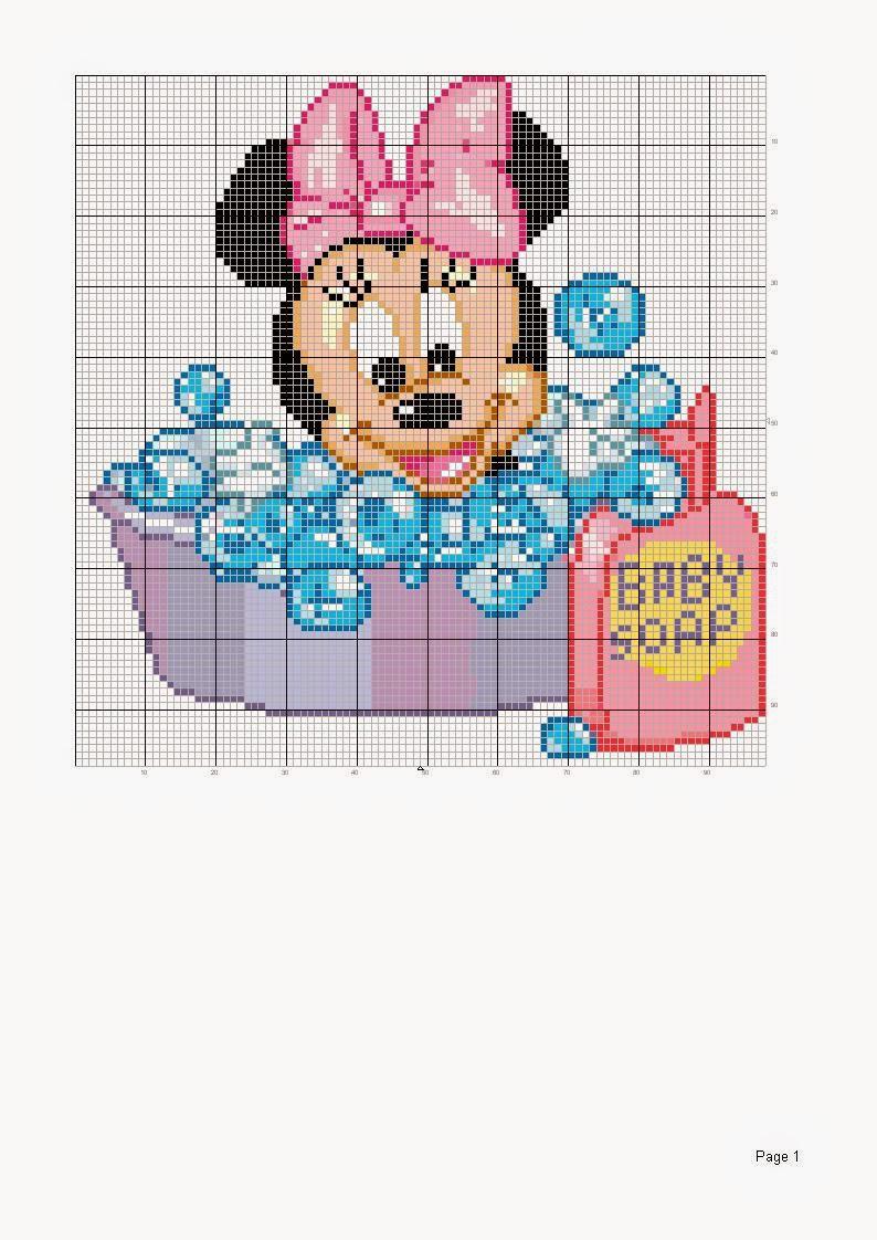 Hobby lavori femminili - ricamo - uncinetto - maglia: schema punto croce baby minnie e baby ...