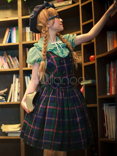 Classic Cotton Blend Buttons Straps Neck Lolita Jumper Skirt