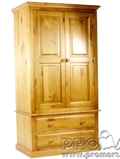 Tủ quần áo Cheshire 2 cánh 2 ngăn gỗ tự nhiên màu gỗ