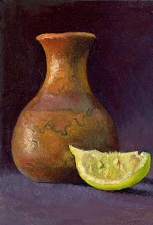 Indian Horsehair Vase & Lemon by Twomey