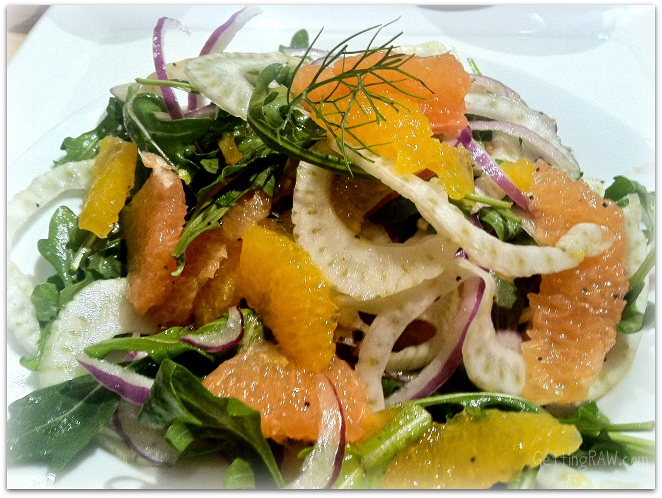 Grapefruit, Tangelo, Fennel, Red Onion and Arugula Salad in a Honey ...