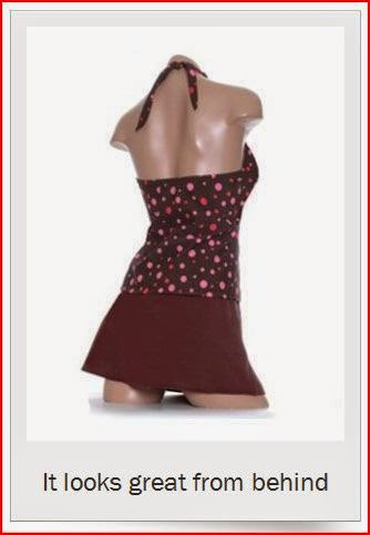 flirty brown skirtini swimsuit from behind