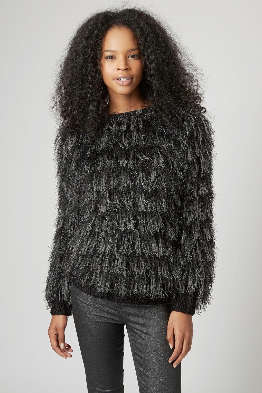 black fluffy jumper