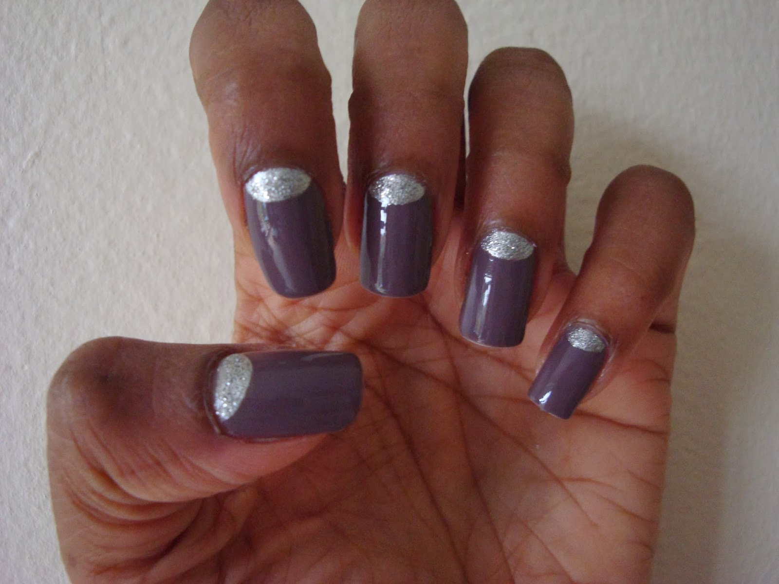 Brown Nails With Silver Glitter Half Moons